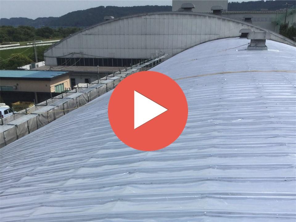古紙倉庫【アーチ屋根】 台風も問題なく