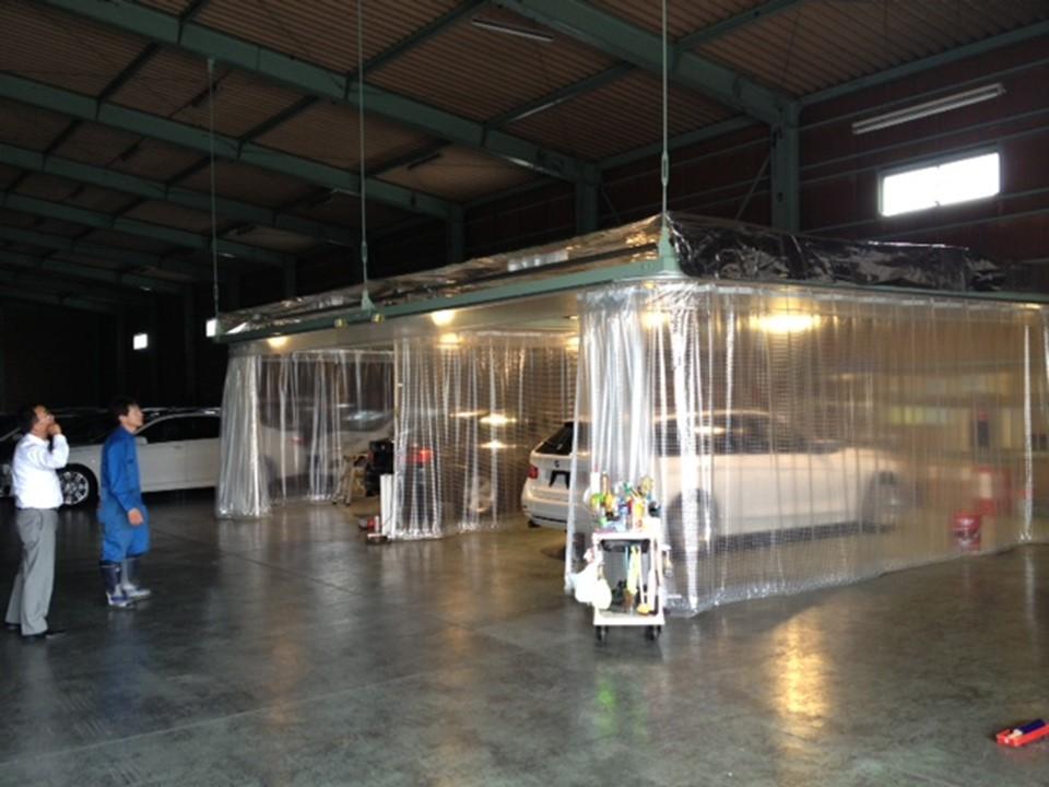 コーティング作業スペースの天井面に施工