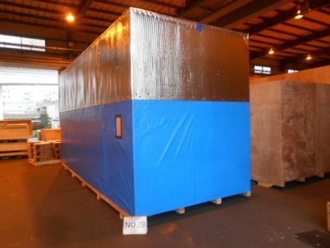 海上輸送時の梱包資材として<br>サーモバリアSを使用