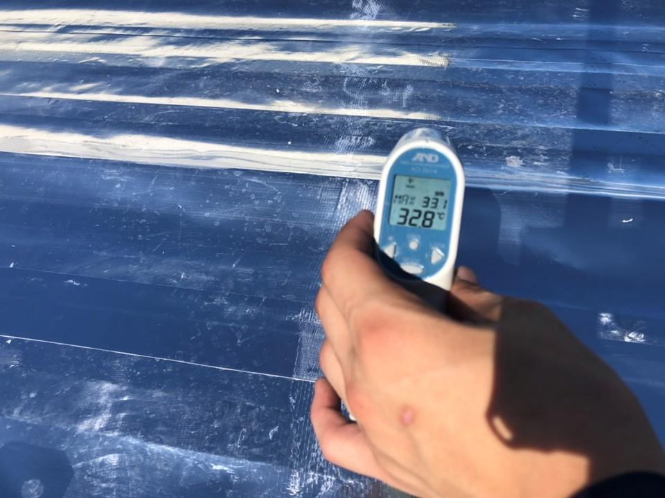 スカイ工法 施工前後で屋根温度に差が!!